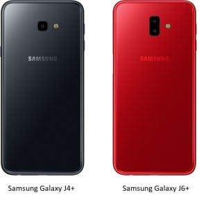achterzijde Galaxy J4+ en Galaxy J6+